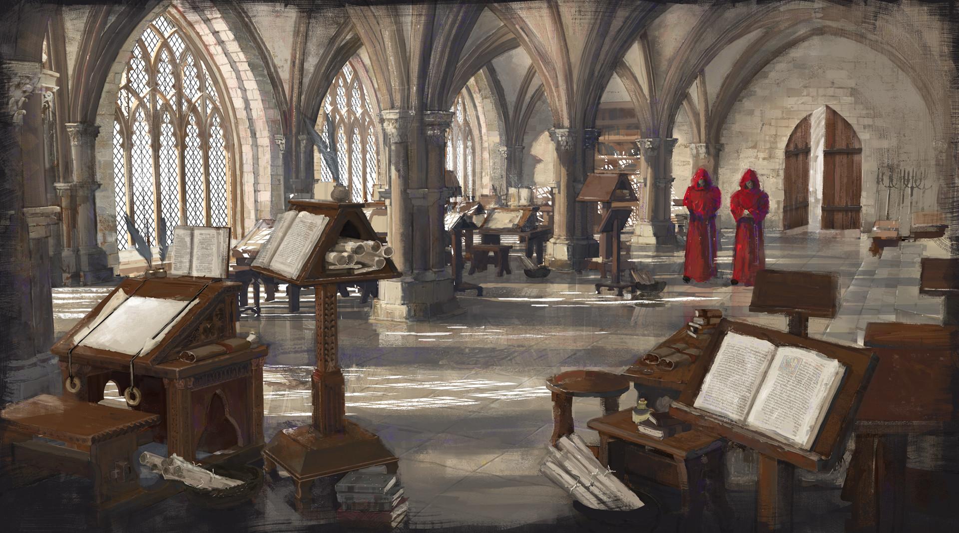 Medieval Monks In Scriptorium