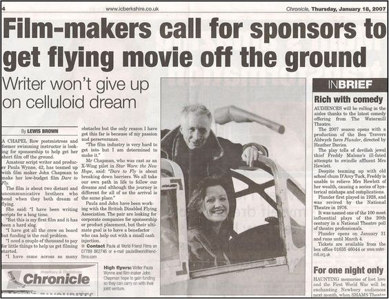 Paula Wynne Making Dare To Fly Short Film