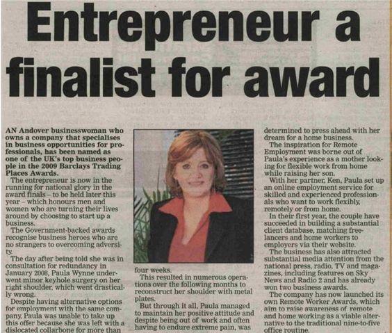 Article on Paula as an entrepreneur award finalist