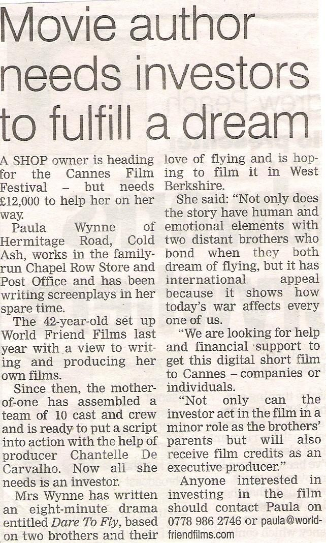 Movie Author Needs Investors to Fulfil A Dream