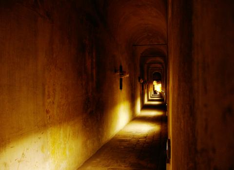 Abbey Passageway Lit Up At Night