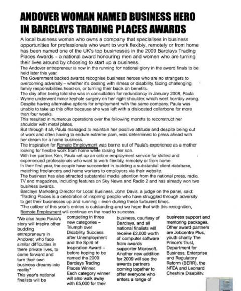 Paula Wynne Wins Barclays Trading Places Award