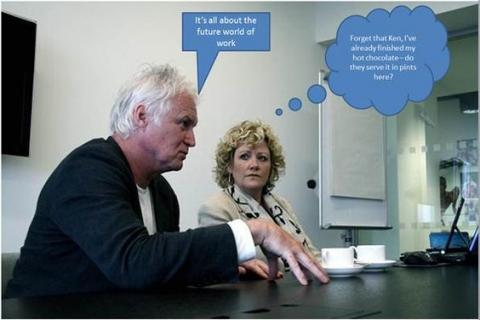 Paula and Ken enjoying a live chat session with The Times on remote working