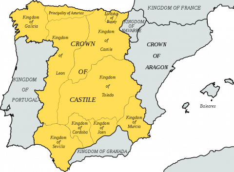 Map of Medieval Spain featured in The Luna Legacy