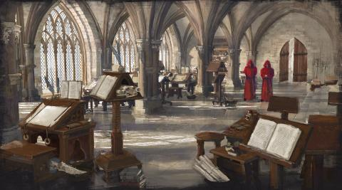 Medieval Monks In Scriptorium