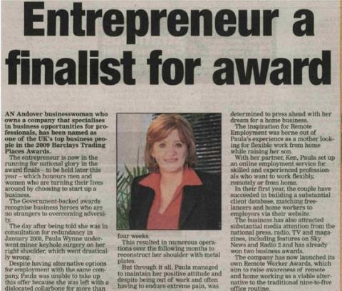 Article on Paula as an entrepreneur award finalist