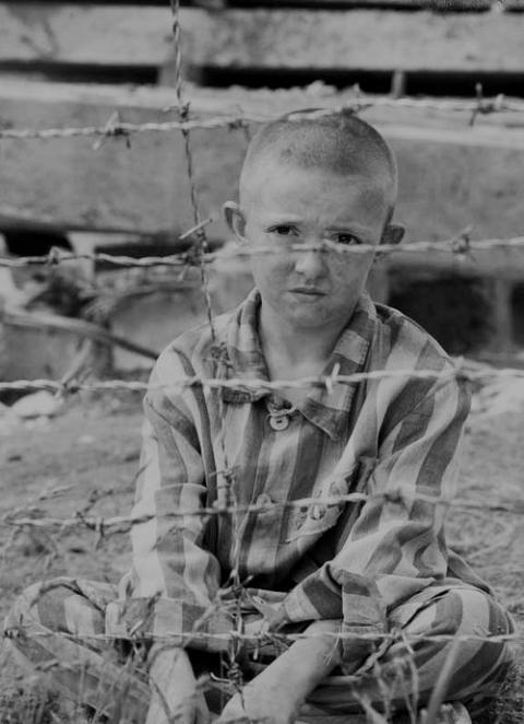 Young Child in World War II Concentration Camp